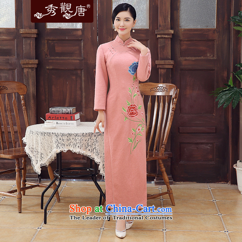 [Sau Kwun Tong] Fen Yui 2015 Fall/Winter Collections new wool embroidery long qipao? skirt long-sleeved Chinese Dress pink�S