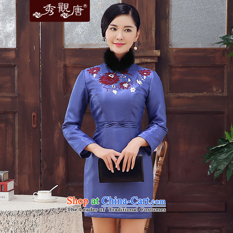 -Sau Kwun Tong- spend the winter 2015 and new embroidery thick hair for long-sleeved folder cotton qipao Sau San dresses purple聽M