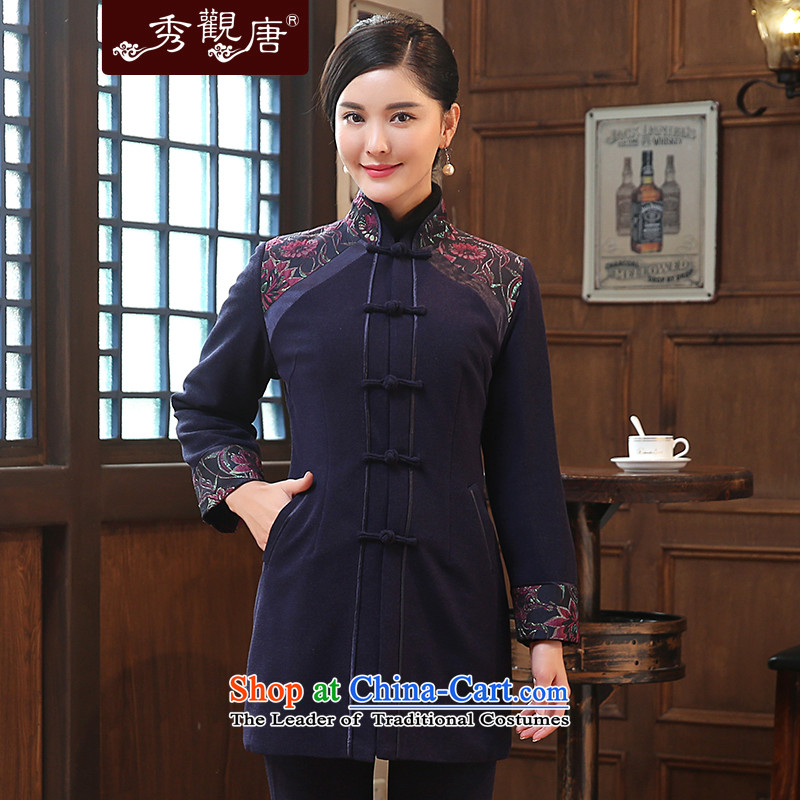 -Sau Kwun Tong- included winter 2015 Ying Ms. New Tang Dynasty Chinese cotton improved long-sleeve sweater stitching dark blue聽XL