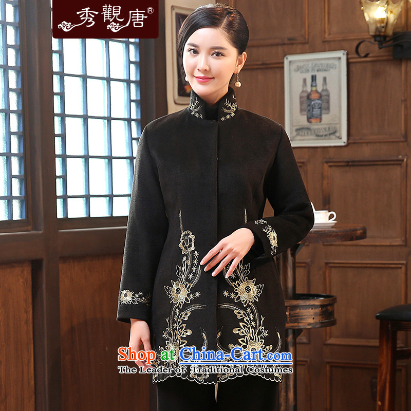 -Sau Kwun Tong- Chan Chi 2015 winter clothing in embroidery Ms. older wool? Tang jackets Chinese mother coat black燣