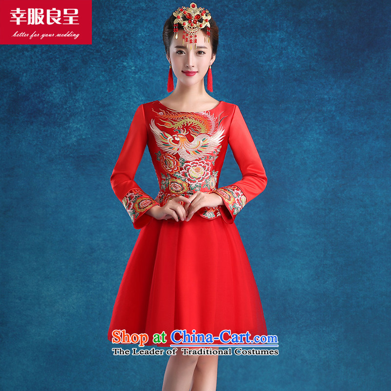 The privilege of serving-leung marriages qipao bows services 2015 new stylish wedding services Ms. Qiu red wedding dress 9 Cuff?M