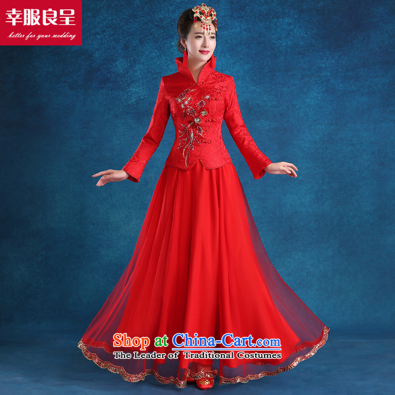 The privilege of serving-leung new 2015 autumn and winter bride bows wedding-dress uniform chinese red color ancient wedding dress long long-sleeved at +68 Million Head Ornaments�L