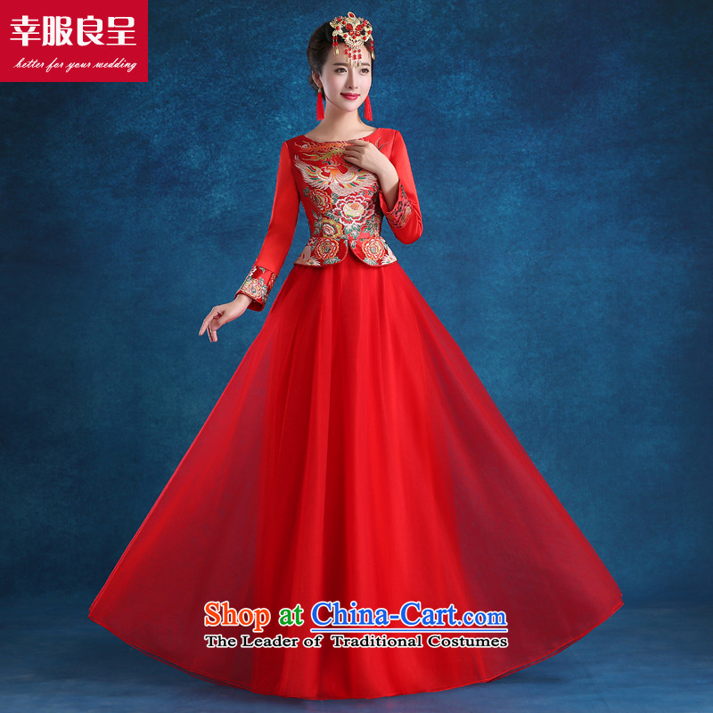 The privilege of serving good red bows Service Bridal wedding dress qipao autumn 2015 new stylish wedding gown costume long-sleeved at +68 Million Head Ornaments 2XL