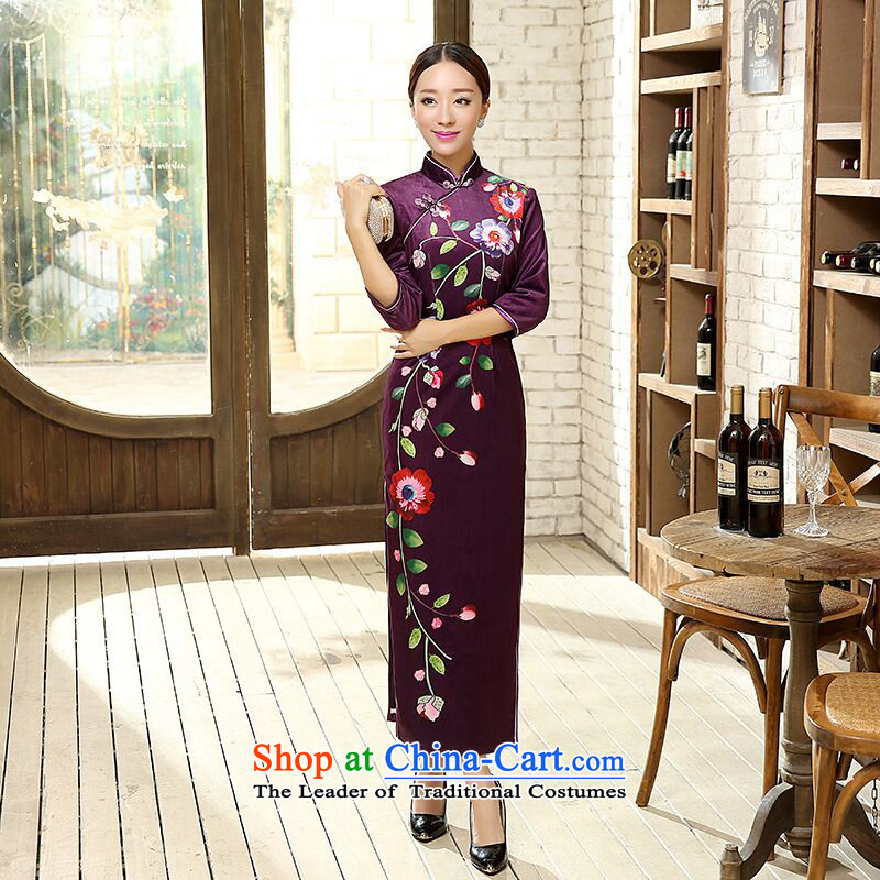 Floral autumn and winter new Chinese Tang dynasty improved positioning poster elastic Kim Tang dynasty scouring pads 7 long-sleeved qipao figure color�L