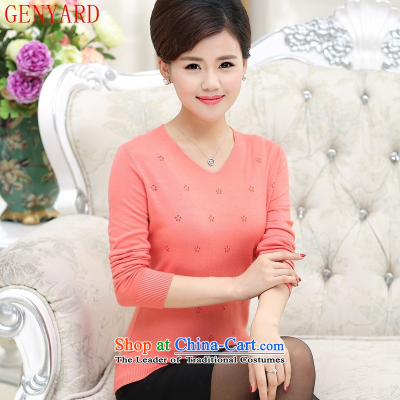 The elderly in the mother load GENYARD2015 autumn new stylish V-Neck Diamond Knitted Shirt mother load Sau San and red�0