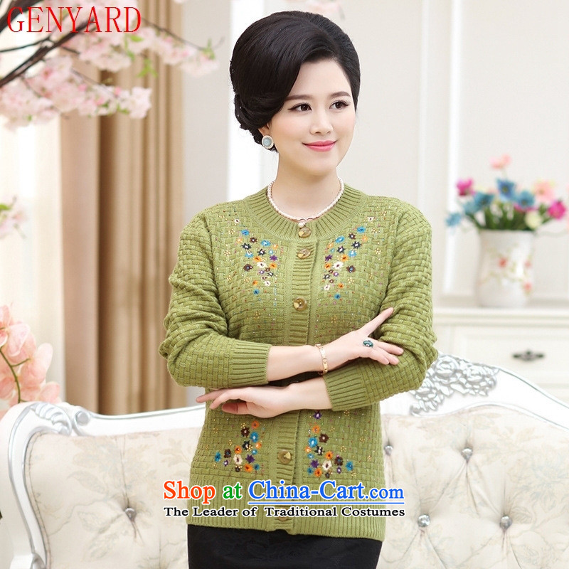 The elderly in the mother load GENYARD2015 autumn and winter new leisure cardigan round-neck collar long-sleeved saika knitwear are Code Red