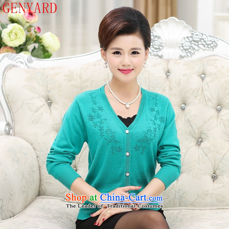 The elderly in the mother load GENYARD2015 autumn new LEISURE COMFORT V-Neck Knitted Shirt Ms. Cardigan pink?115