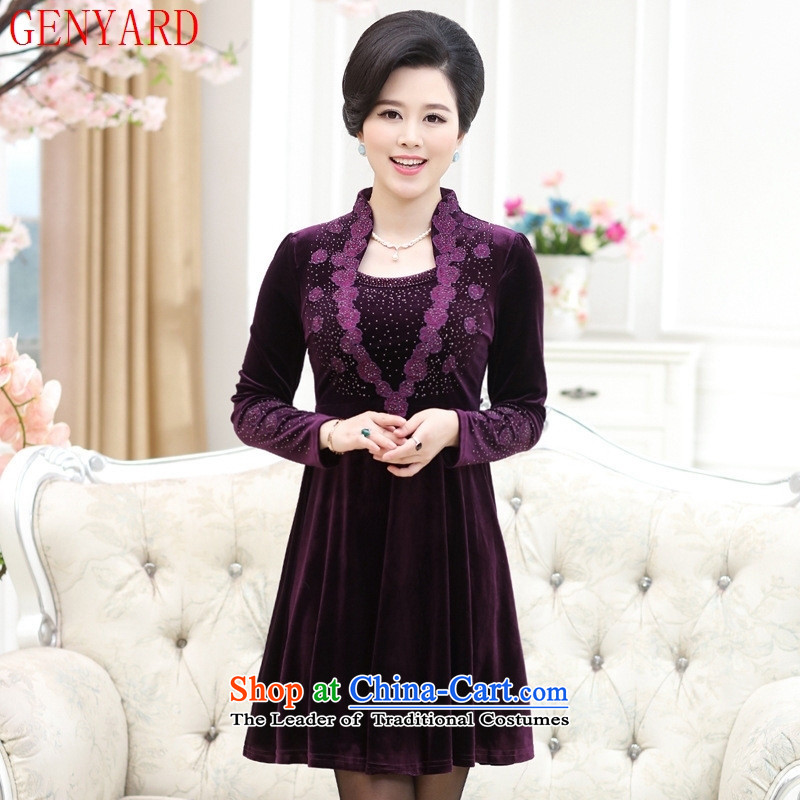 The elderly in the mother load GENYARD2015 autumn and winter new vogue and comfortable dresses with yellow聽3XL Mom