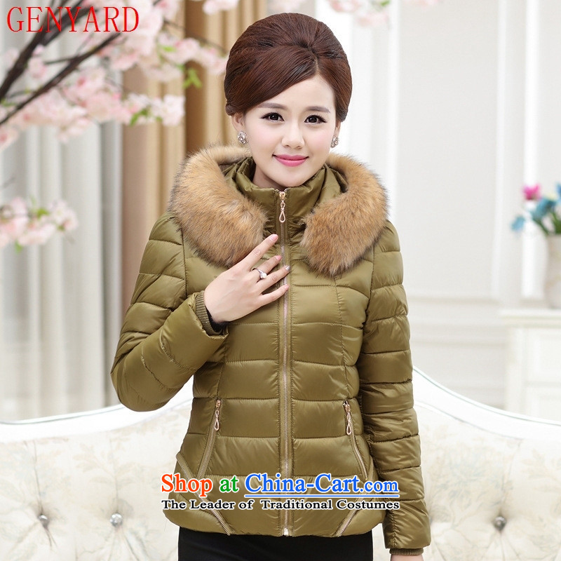 Genyard2015 winter clothing in the new Elderly Women 茫镁貌芒 short of explosion of cotton coat downcoat girl mothers-pack Black聽4XL