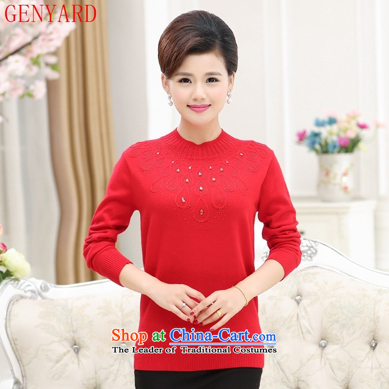 The elderly in the mother load GENYARD2015 autumn and winter new leisure round-neck collar kit and knitwear mother Red�0