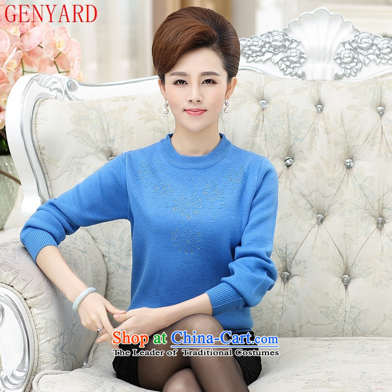 In the fall of the elderly GENYARD stylish solid color engraving mother knitted shirts mother Blue?115