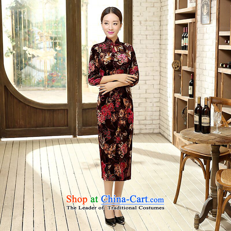Dan Chu load new smoke, Chinese improved water droplets Stretch Wool for the medium to longer term, cuff Sau San cheongsam dress Figure聽2XL color