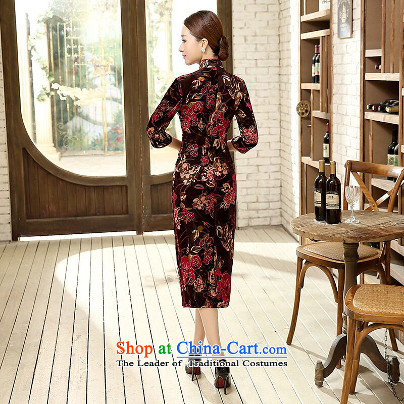 Dan Chu load new smoke, Chinese improved water droplets Stretch Wool for the medium to longer term, cuff Sau San cheongsam dress Figure Color聽2XL, Dan Smoke , , , shopping on the Internet