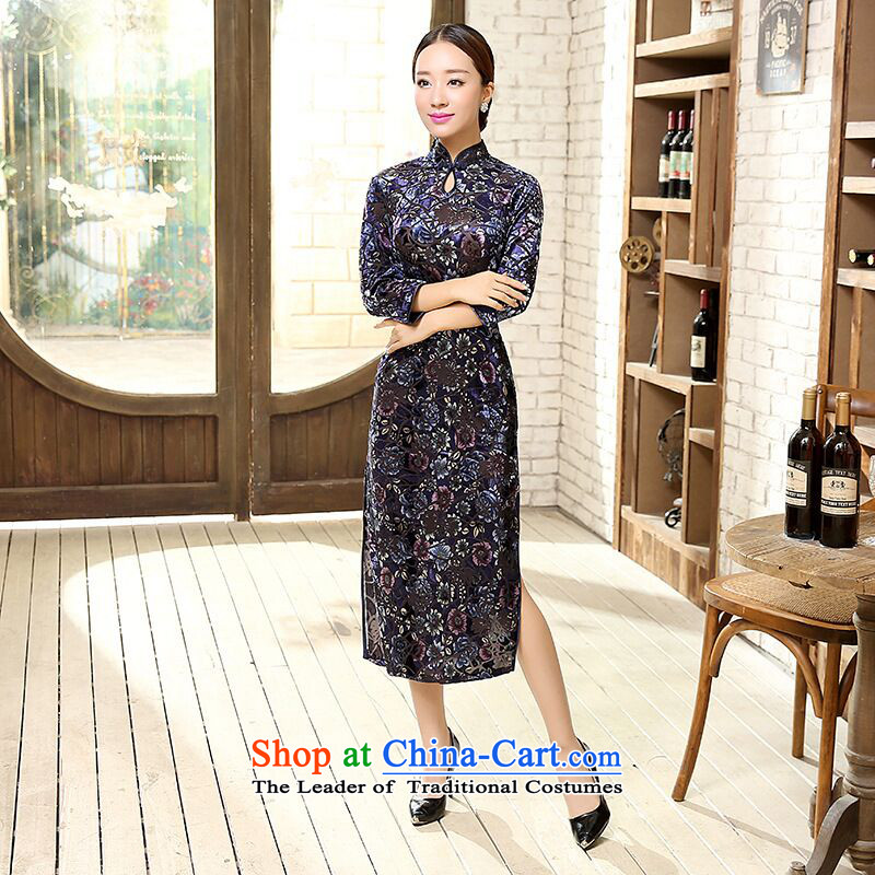聽2015 Autumn smoke Dan Women's clothes Stretch Wool for cuff improved water droplets video in thin long cheongsam dress Figure Color聽S