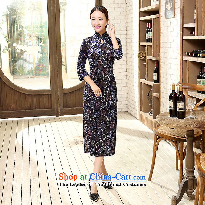 聽2015 Autumn smoke Dan Women's clothes Stretch Wool for cuff improved water droplets video in thin long cheongsam dress Figure Color聽S, Dan Smoke , , , shopping on the Internet