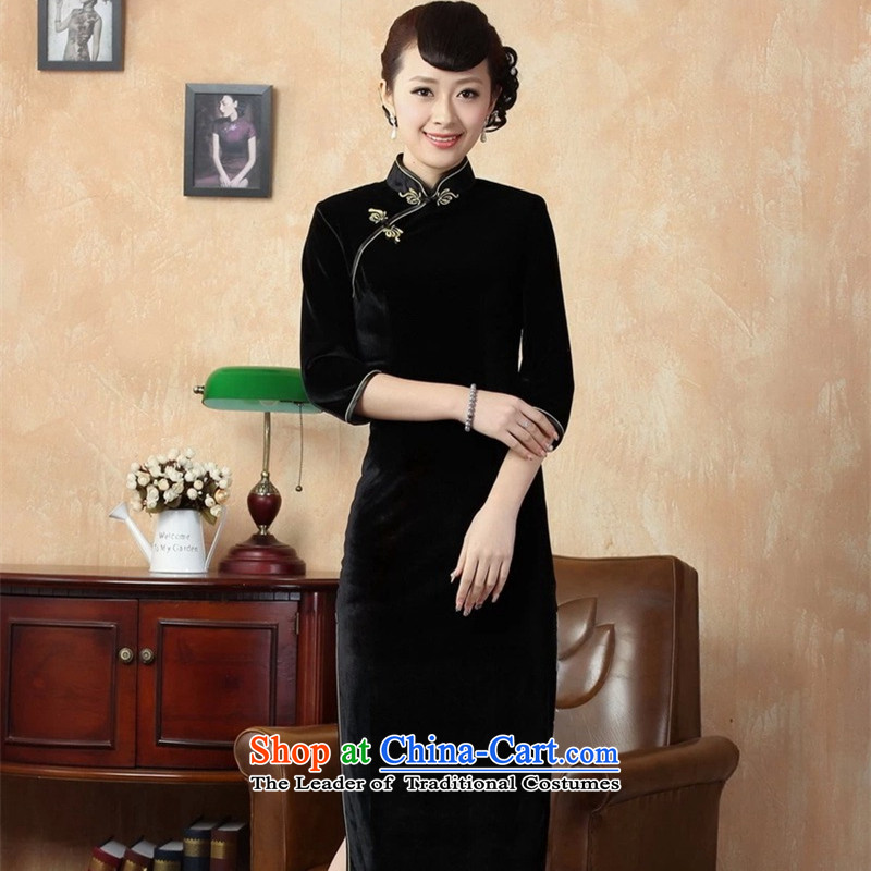 Asako In autumn and winter, elegant ladies handmade solid color and the Stretch Wool seven gold sleeve length cheongsam Black?XL