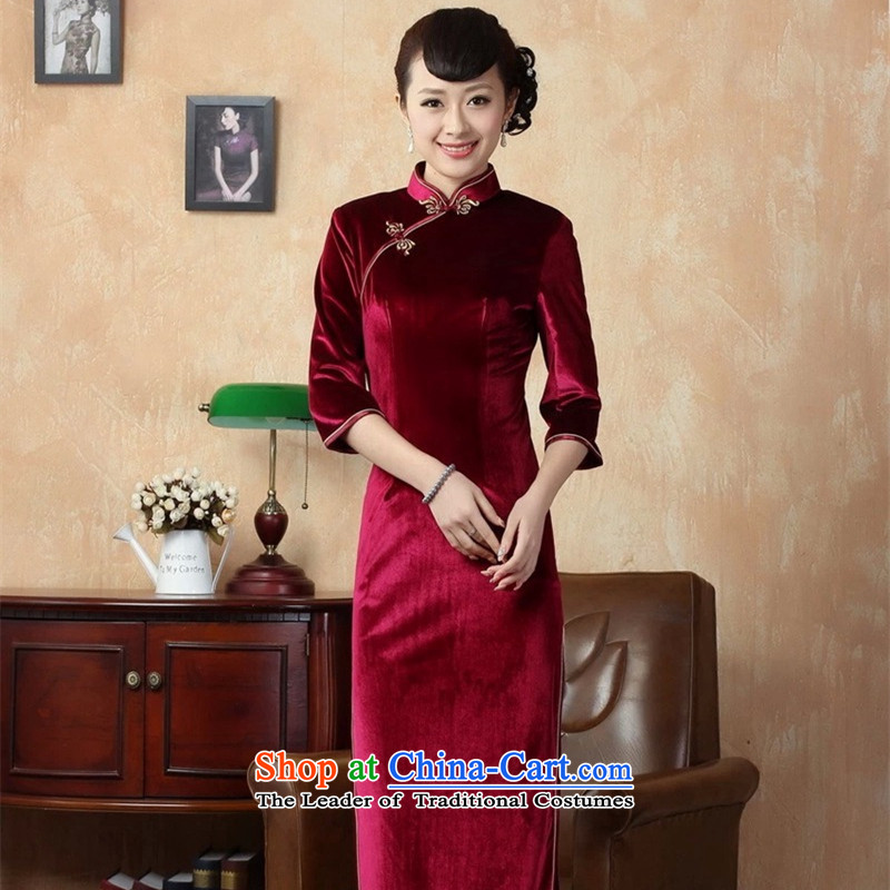 The Syrians poem card winter clothes for elegant ladies handmade bright superior Stretch Wool elegant seven gold sleeve length cheongsam red?XL