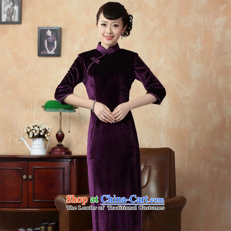 Asako In women's elegant women pure handmade bright superior Stretch Wool elegant seven gold sleeve length cheongsam purple?M