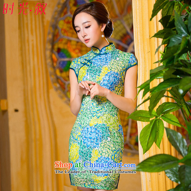 Time the� new autumn 2015 Syria stylish collar daily short qipao retro stamp cheongsam dress green燲L