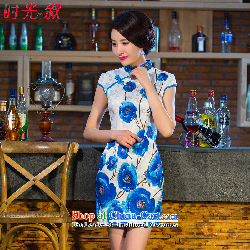 Time the? new 2015 Syria qipao new retro short-sleeved improved stylish stamp daily cheongsam dress short blue qipao?XL