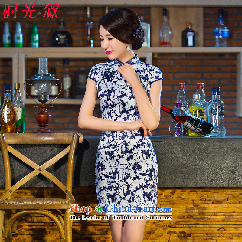 The Syrian Arab Republic  2015 Autumn load time new products Sau San dresses female porcelain stamp qipao Foutune of video thin round-neck collar short-sleeved blue qipao short skirts step XXL