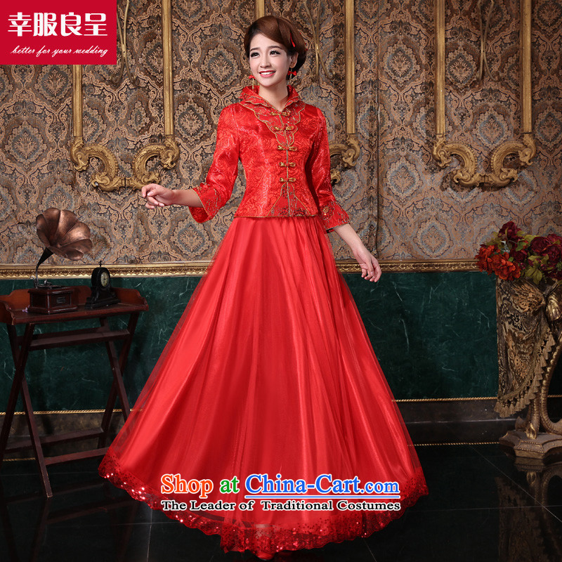 The privilege of serving-leung 2015 new autumn and winter red Chinese bride wedding dress wedding dress long-sleeved qipao bows services for long winter dress燤