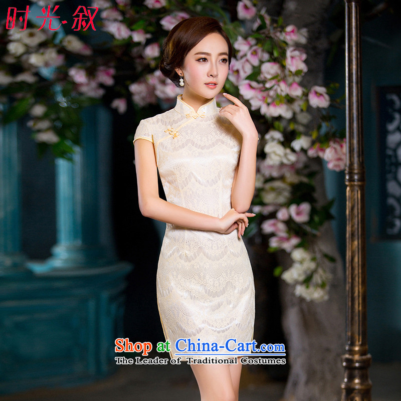 Time the? new 2015 Syria cheongsam Silk flower buds fabric stylish champagne color improved qipao fall short qipao Chinese Robes retro champagne color?L