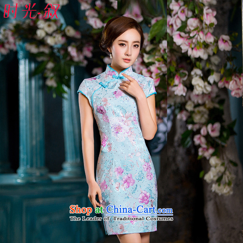 Time the new Syrian cheongsam dress ladies, blue floral improved Stylish retro thin of daily short of Qipao Female dress photo color?S