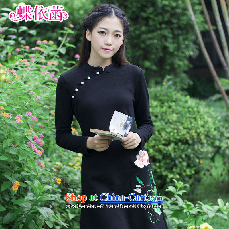 In accordance with the basis of embroidery butterfly retro national long-sleeved wind Sau San dresses autumn and winter, forming the improvement of women's clothes skirt cheongsam dress Black燲L