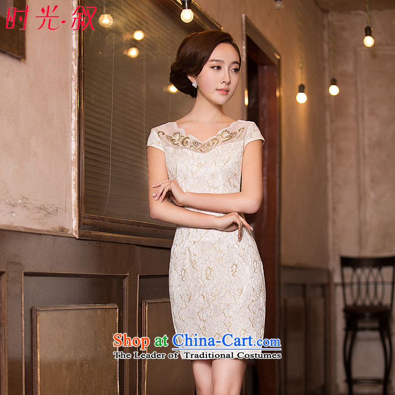 Time  of daily new 2015 Syria improved short of qipao short-sleeved round-neck collar stylish Chinese Dress Short qipao champagne color L