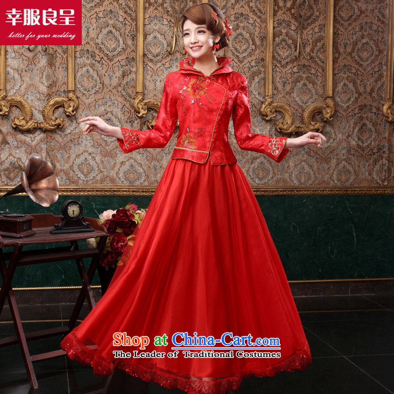 The privilege of serving good red bows service bridal dresses long 2015 New Fall_Winter Collections Of Chinese style wedding dress long-sleeved wedding dress for long winter dress L
