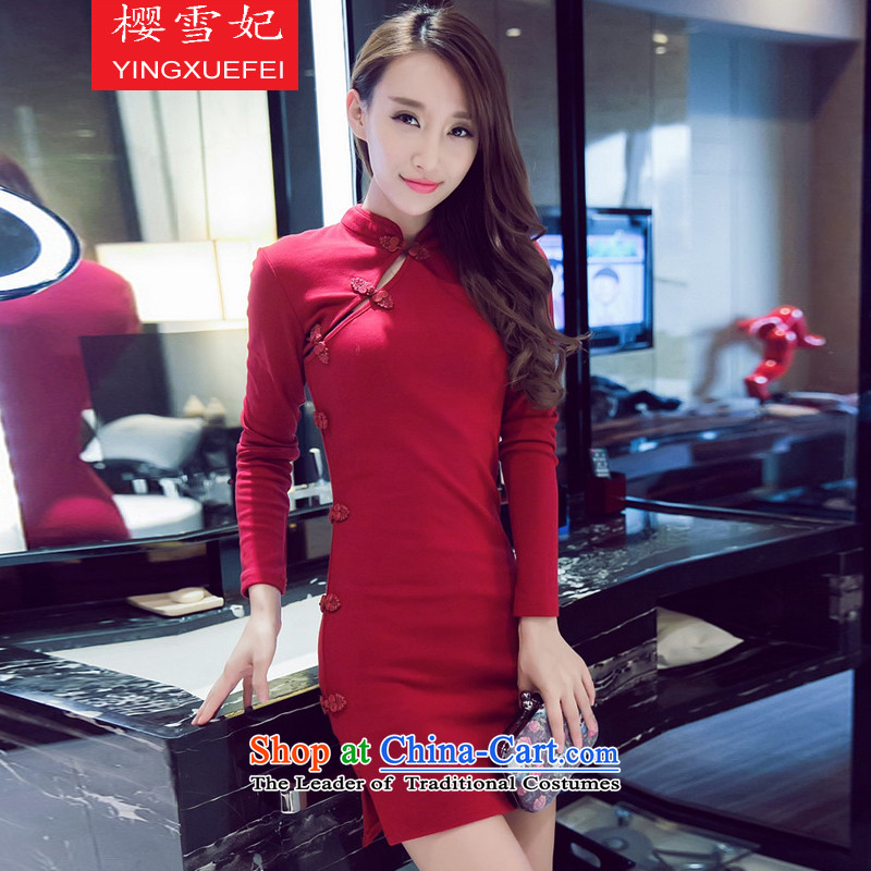 Enear Princess Bride of Qipao 2015 autumn and winter new sexy nightclubs Sau San package and a mock-neck cheongsam dress BOURDEAUX?S