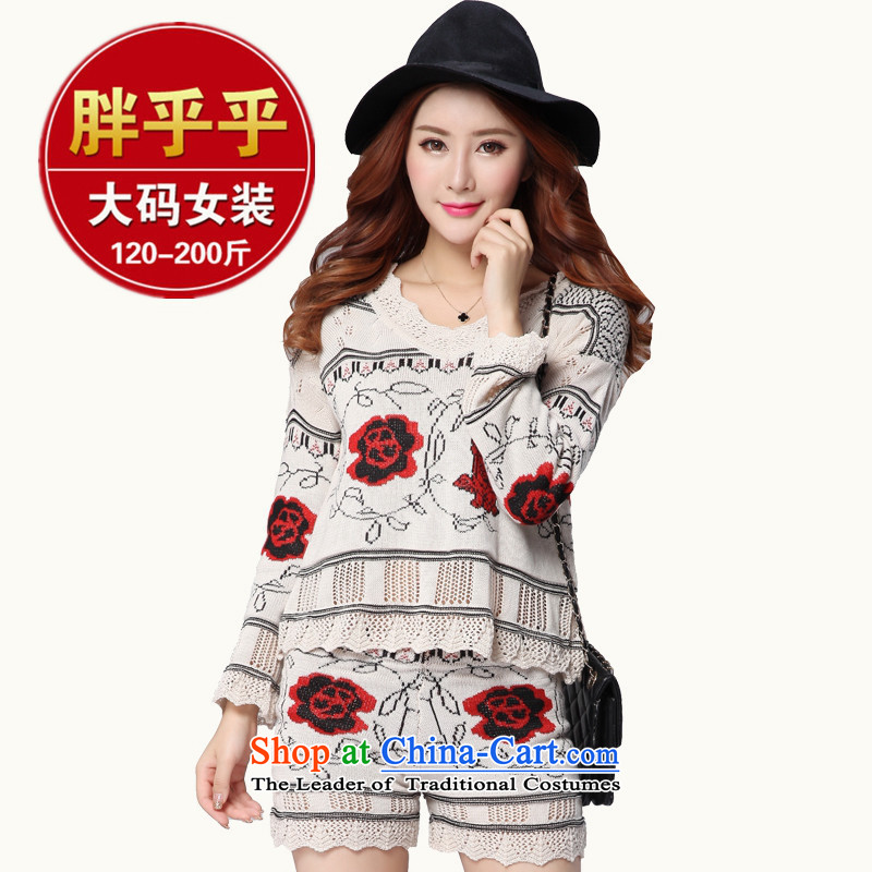 Orange Tysan _2015 autumn and winter Korean thick mm to xl graphics thin sweater Sau San Two-piece set with 200 catties red燲XL