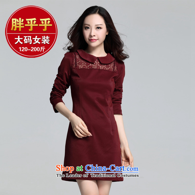 Orange Tysan _2015 new products korea Fall edition to increase the number of child adoption of the Sau San Fat MM video thin long-sleeved dresses Black XL