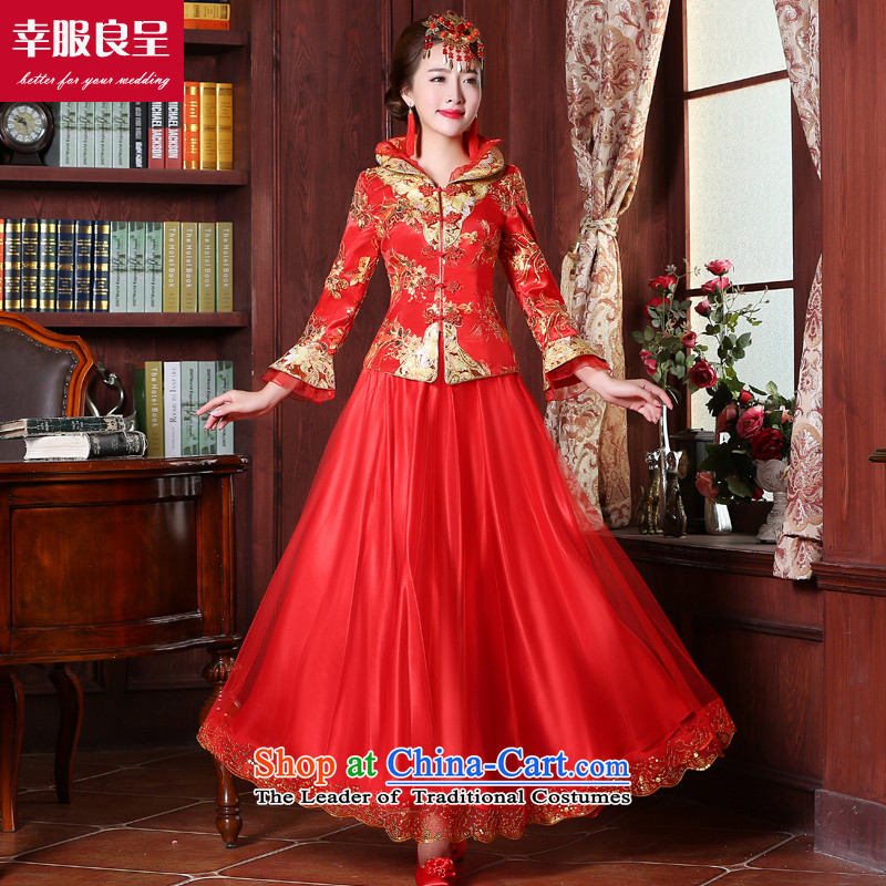 The privilege of serving the bride-leung wedding dress 2015 Sau Wo Service new services red Chinese qipao bows dress long ancient wedding dress 9 sleeve length dress 2XL