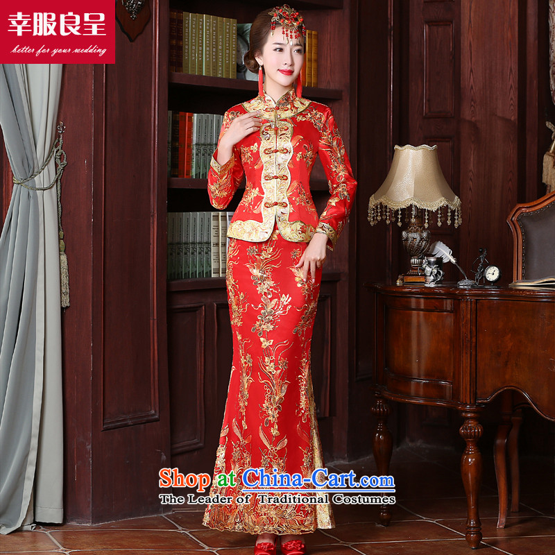 The privilege of serving the bride-leung replacing bows services 2015 new red stylish、Qipao Length improved of Chinese wedding dress wedding dress larger long-sleeved long skirt L