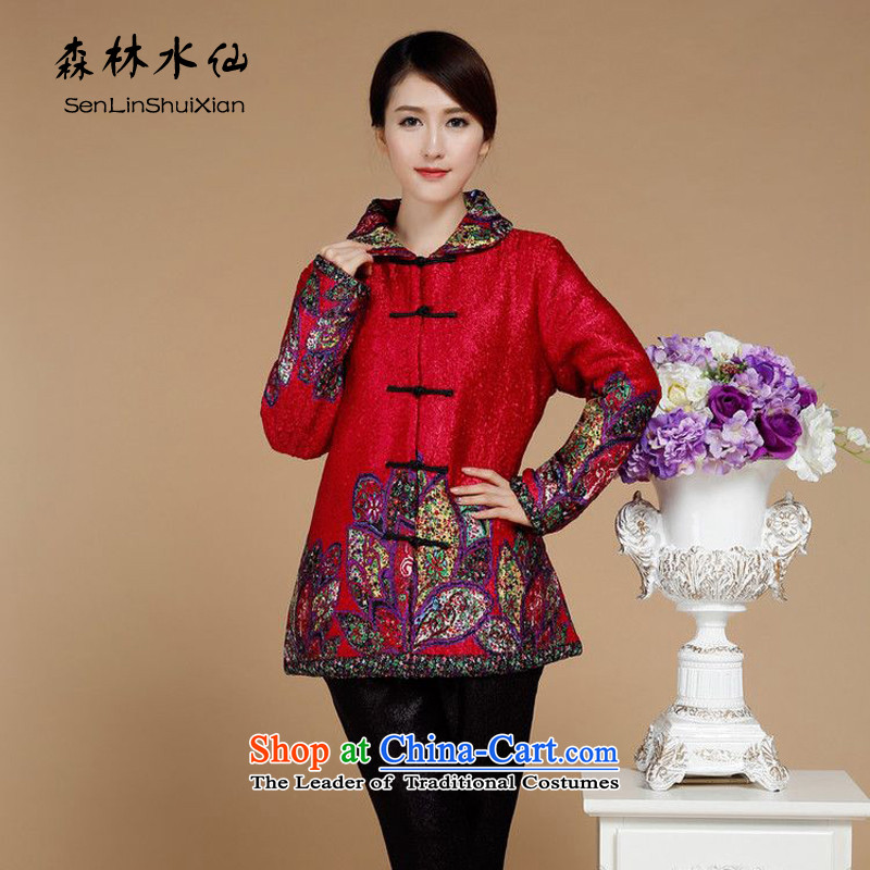 Forest narcissus autumn and winter 2015 on a new liberal larger creases wind in older mother add cotton thick winter jackets XYY-8519 qipao tang of red燲XXXL