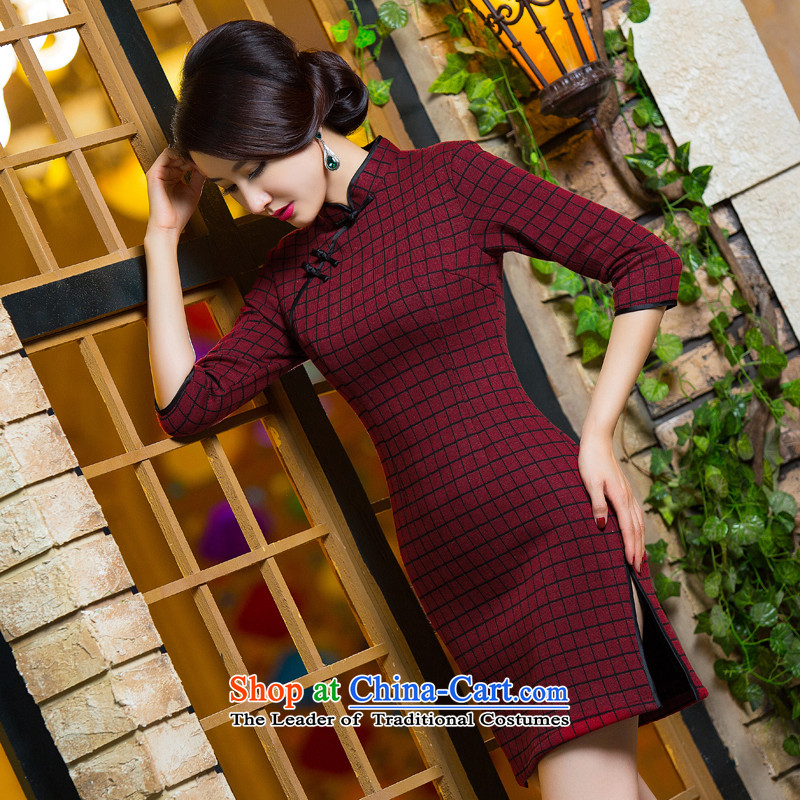 Dan smoke new 2015 autumn and winter 7 cuff female retro grid improvement in Sau San long gross qipao skirt as shown what color S