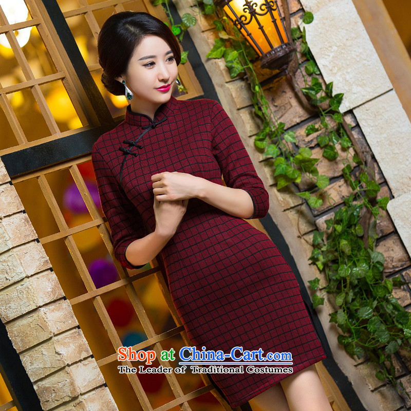 Take the?new 2015 Figure 7 to the autumn and winter cuff female retro latticed improvement in long hair Sau San? cheongsam dress Figure Color?XL