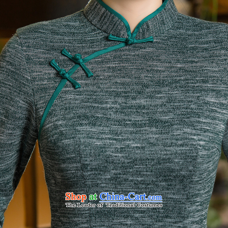 Dan smoke autumn and winter new dresses 7 cuff retro collar qipao daily Chinese improved gross short qipao? If map color聽M Dan Smoke , , , shopping on the Internet