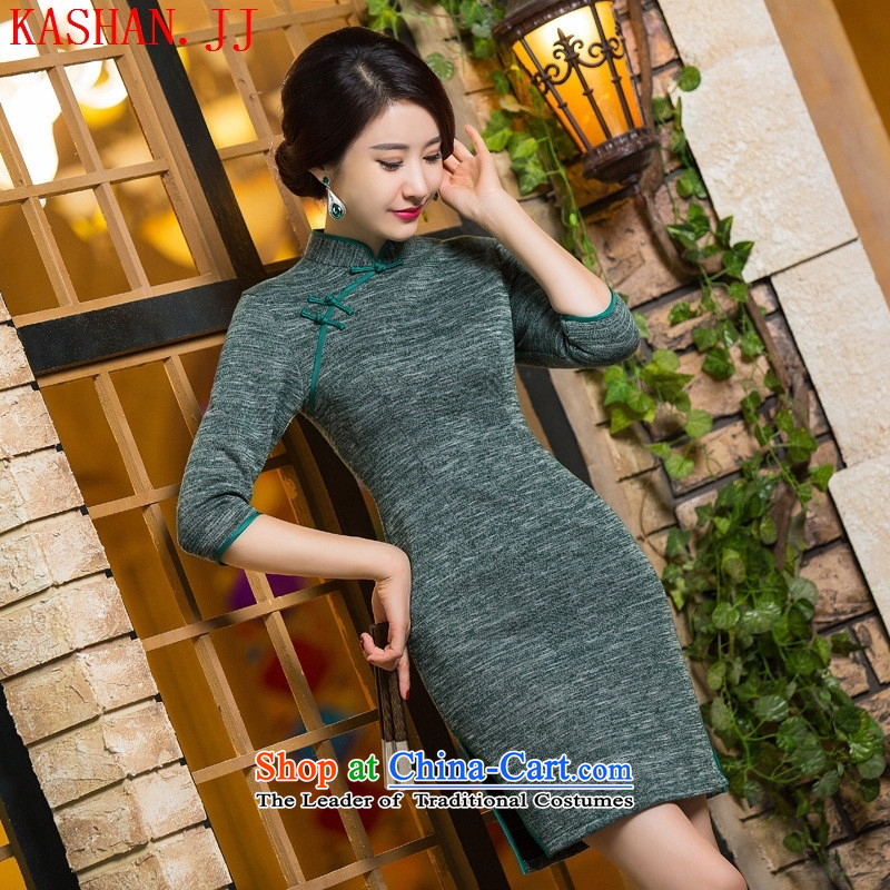 Mano-hwan's qipao autumn and winter new products, in short? gross cuff qipao retro ethnic costumes dresses 298 M