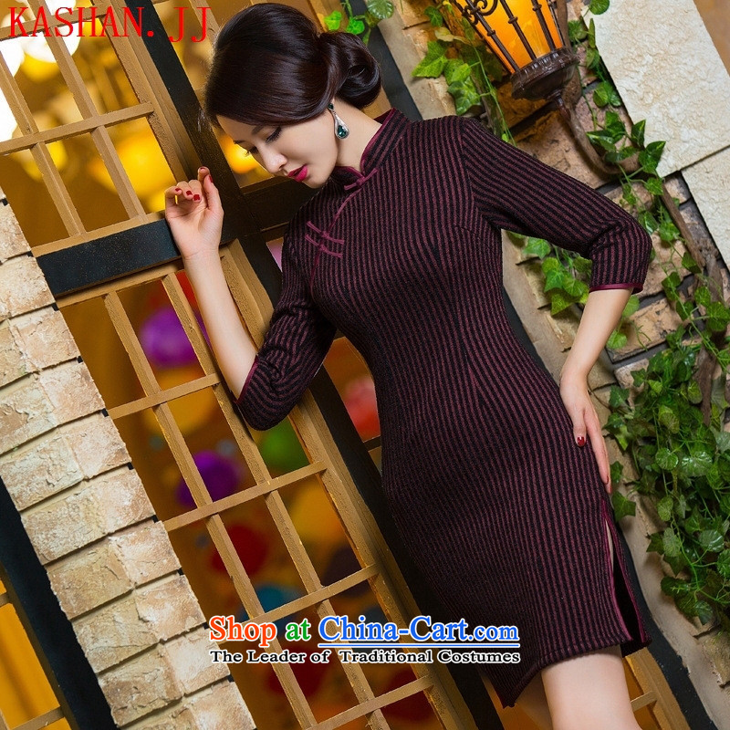 Mano-hwan's qipao autumn and winter new gross? grid qipao 296 XXL