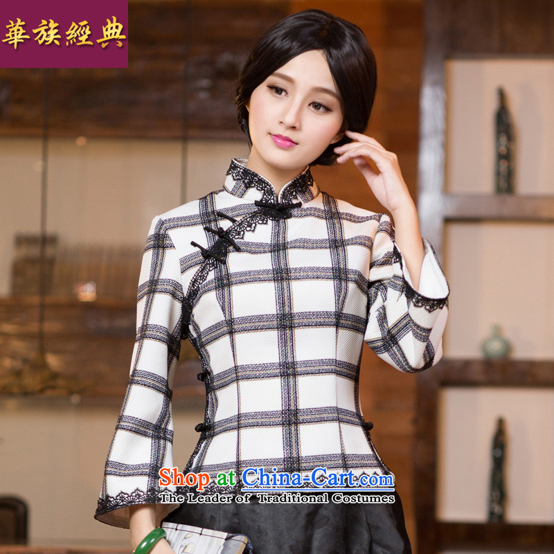 China Ethnic classic Chinese Tang dynasty Ms. 2015 Fall/Winter Collections improved stylish shirt cheongsam dress Han-China wind picture color S