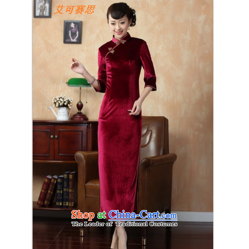 Hiv can be second autumn and winter new monolithic qipao 2015 new products is elegant and modern, video waist qipao adapter qipao wine red M