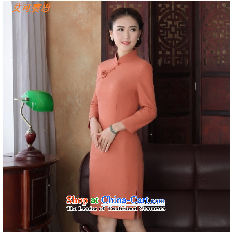 2015 Fall_Winter Collections New Temperament spent embroidery kit head stereo long-sleeved dresses dinner dress qipao orange long-sleeved?M
