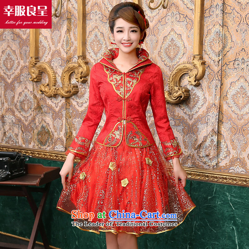 The privilege of serving-leung bows to skirt the new 2015 qipao short, long-sleeved red Chinese wedding dress bride with improved services of the lift mast winter?L