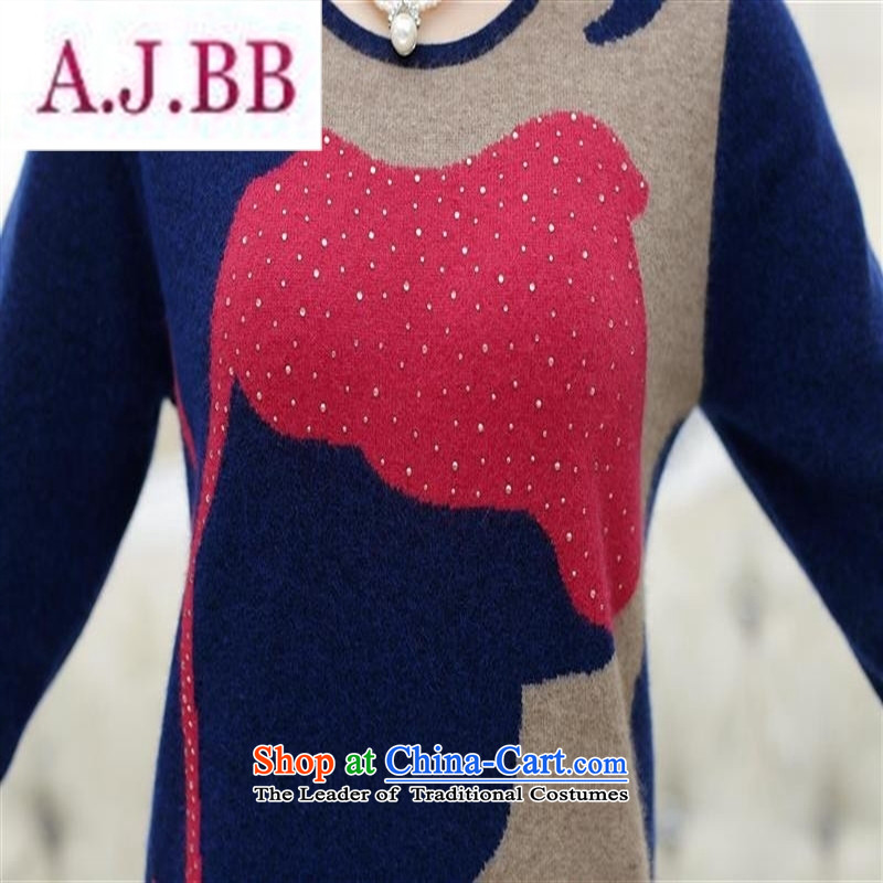 Ms Rebecca Pun stylish shops 2015 autumn and winter new autumn and winter New Korea long-sleeved Pullover knitwear stingrays woolen sweater mother blouses blueM,A.J.BB,,, shopping on the Internet
