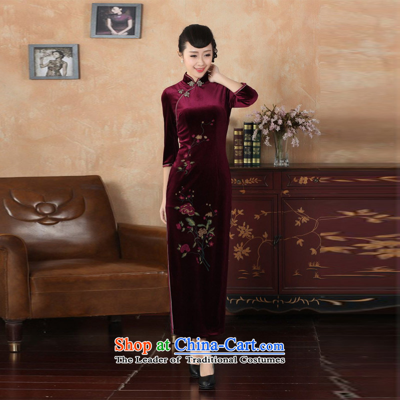 Asako In autumn and winter the new president and the elastic Kim scouring pads dress dresses 7 long-sleeved qipao wine red�L