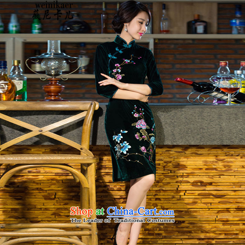 Ms Audrey Eu and childcare autumn and winter new moms with Kim scouring pads in 2015 skirt qipao sleeve length, improvement of nostalgia for the wedding fashion 9038_ qipao XXXL green