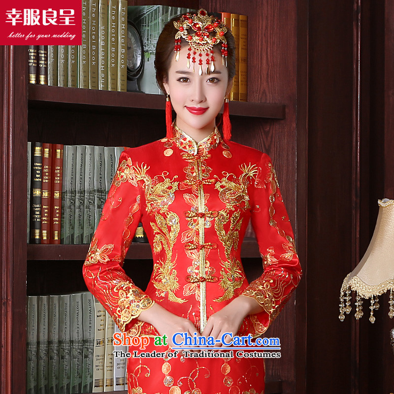 The privilege of serving good red bows service bridal dresses wedding dress Autumn Chinese wedding gown improved long dragon use su wo service female 9 cuff crowsfoot skirt S